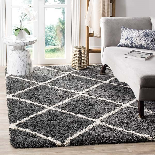 Dark Grey, Ivory (G) Shag Area Rug