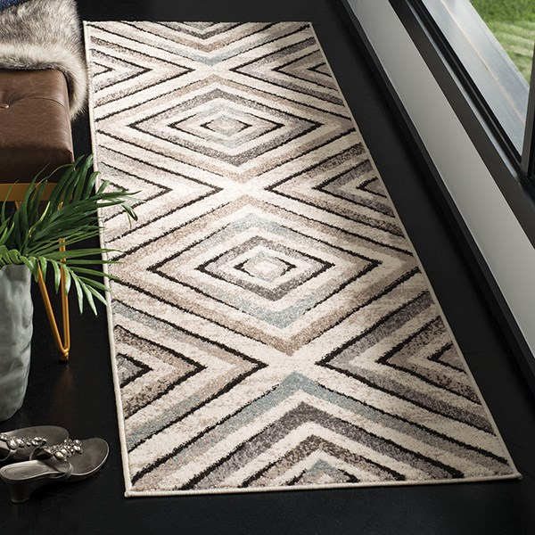 Cream, Beige (A) Geometric Area Rug
