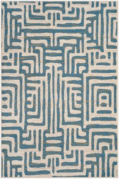 Ivory, Light Blue (C) Contemporary / Modern Area Rug