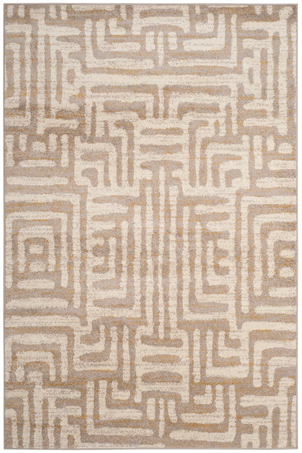 Ivory, Mauve (A) Contemporary / Modern Area Rug