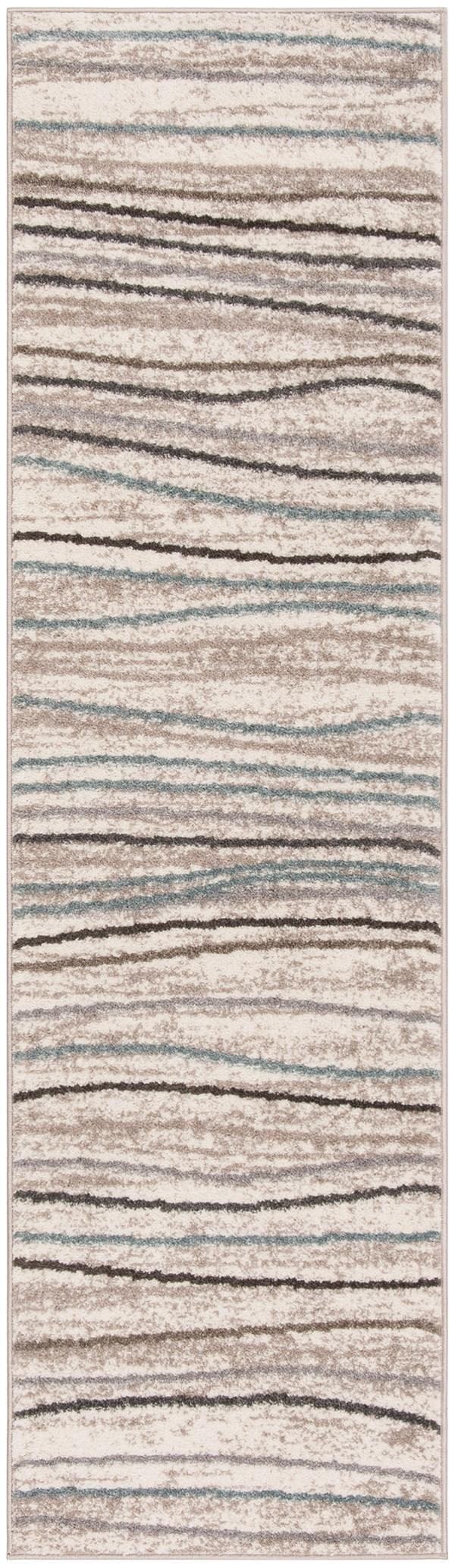 Cream, Beige (A) Striped Area Rug