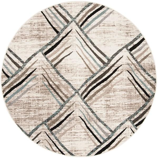 Cream, Charcoal (A) Geometric Area Rug