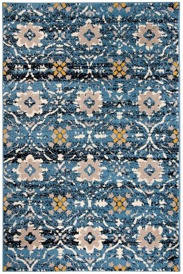 Blue, Cream (M) Traditional / Oriental Area Rug