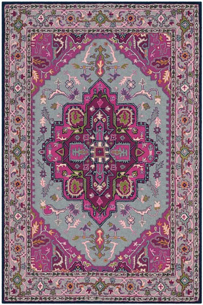 Grey, Pink (B) Traditional / Oriental Area Rug