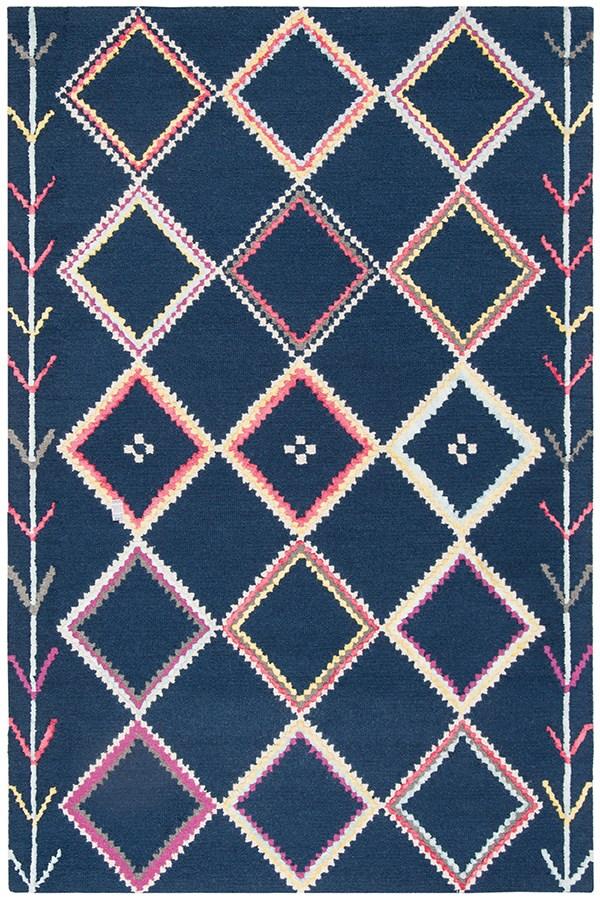 Navy, Pink (N) Bohemian Area Rug