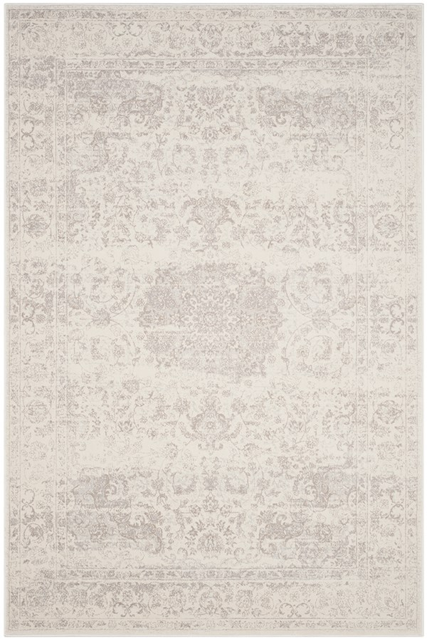 Cream, Light Grey (C) Traditional / Oriental Area Rug