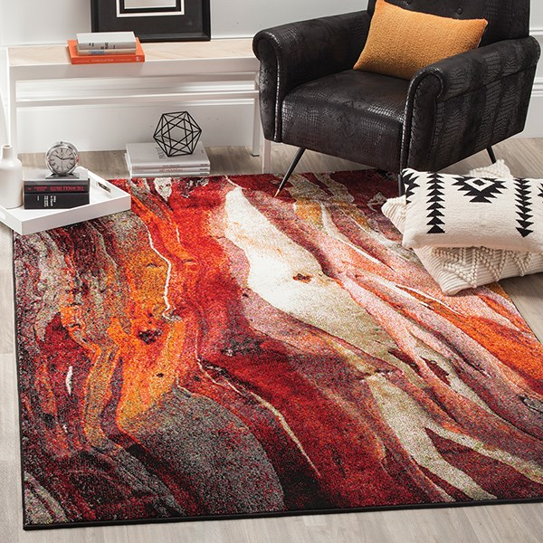 Red (A) Abstract Area Rug
