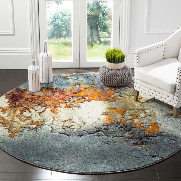 Blue (B) Abstract Area Rug