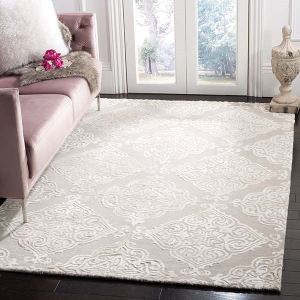 Silver, Ivory (A) Damask Area Rug
