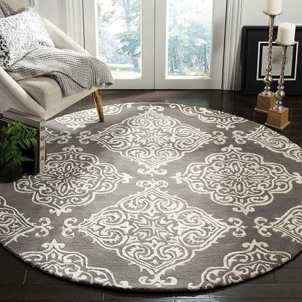 Dark Grey, Ivory (D) Traditional / Oriental Area Rug