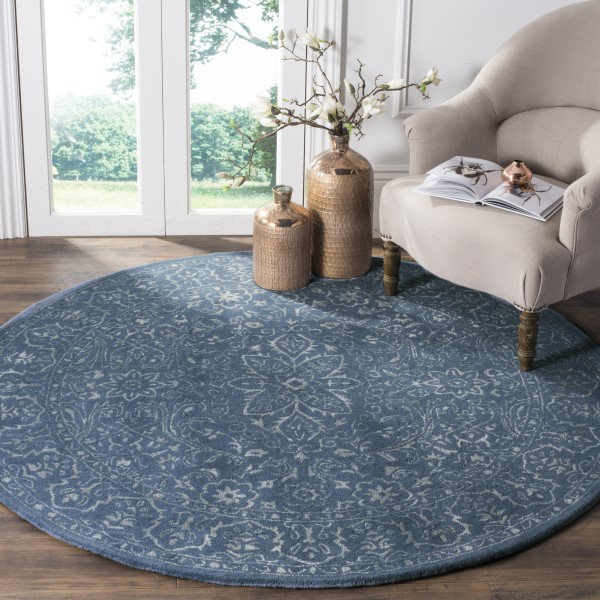 Grey, Blue (D) Traditional / Oriental Area Rug