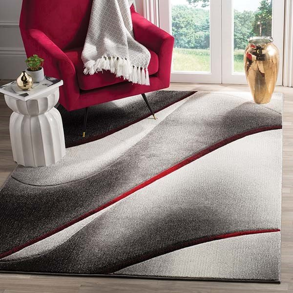 Grey, Red (K) Contemporary / Modern Area Rug