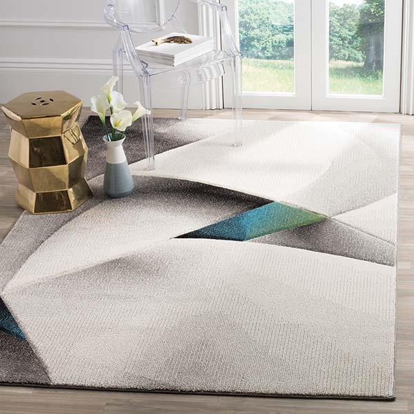 Grey, Teal (D) Contemporary / Modern Area Rug