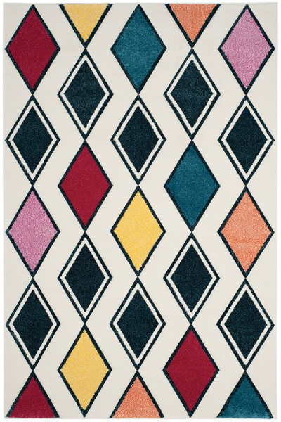 Ivory, Peacock (B) Contemporary / Modern Area Rug