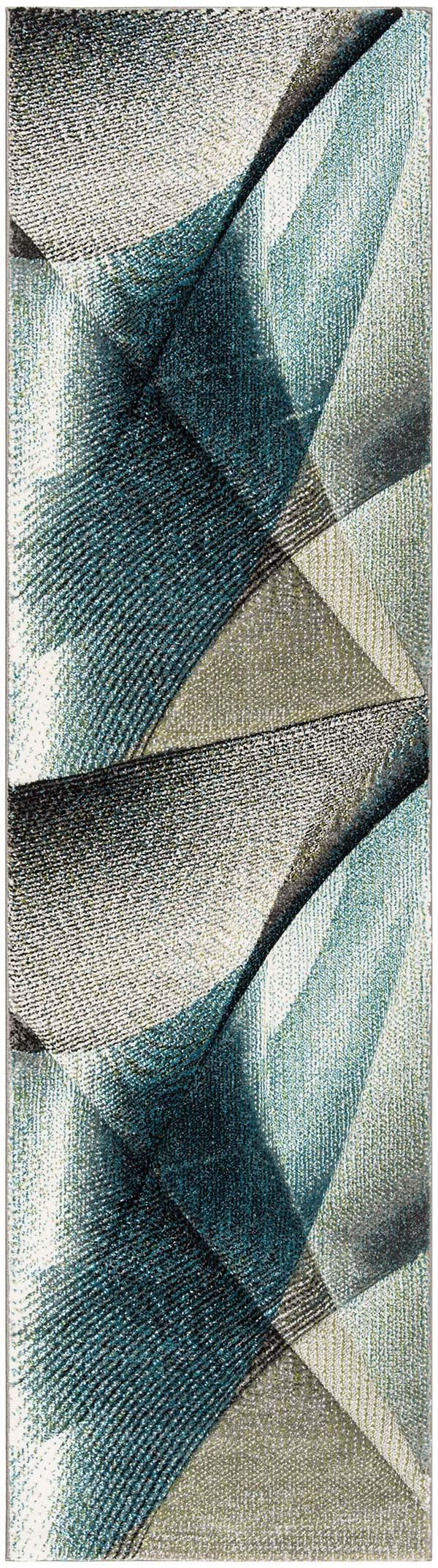 Grey, Teal (D) Contemporary / Modern Area Rug