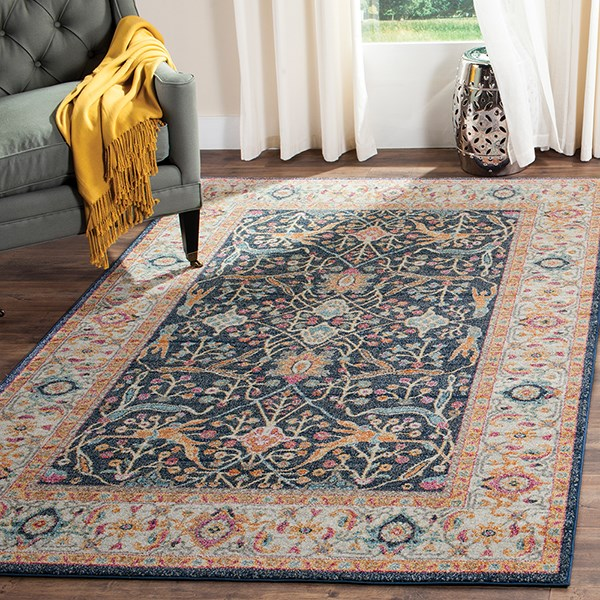 Navy (D) Traditional / Oriental Area Rug