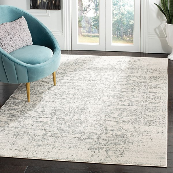 Silver, Ivory (G) Vintage / Overdyed Area Rug