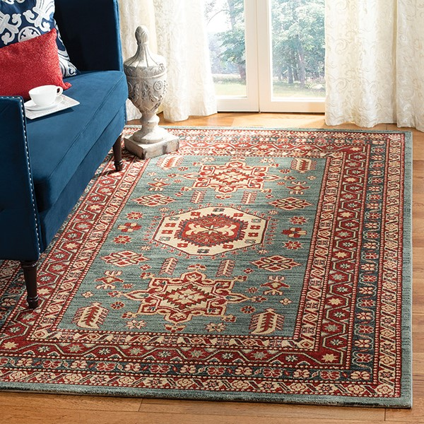 Turquoise, Cream (K) Traditional / Oriental Area Rug