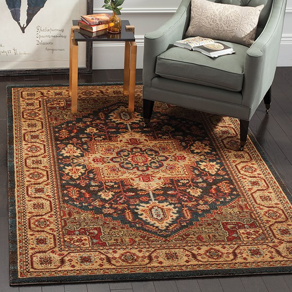 Navy, Natural (E) Traditional / Oriental Area Rug