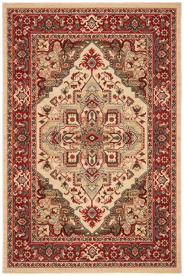 Cream, Red (A) Traditional / Oriental Area Rug