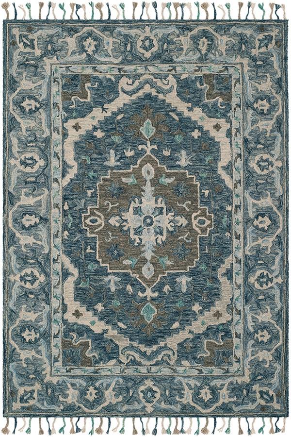 Dark Blue, Grey Traditional / Oriental Area Rug