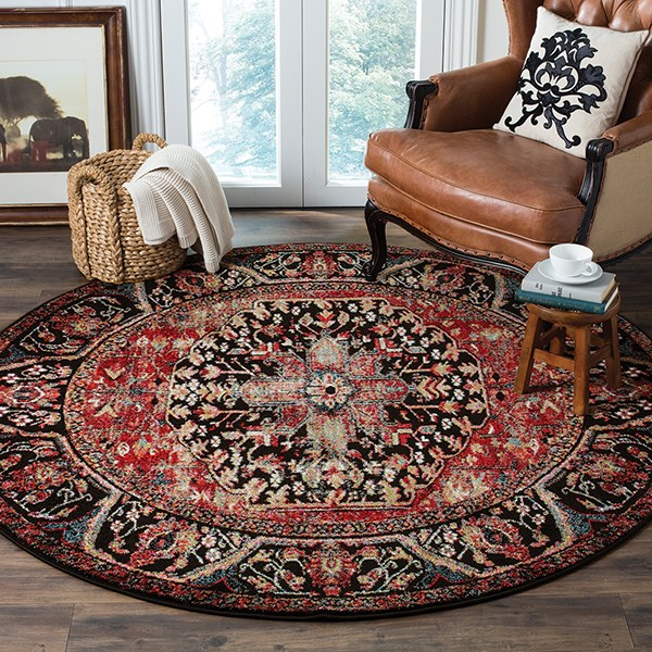 Red, Cream, Black (A) Traditional / Oriental Area Rug