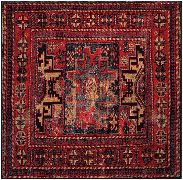 Red, Blue, Gold (A) Traditional / Oriental Area Rug