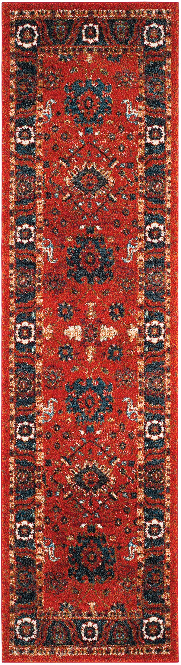 Orange, Blue (C) Traditional / Oriental Area Rug