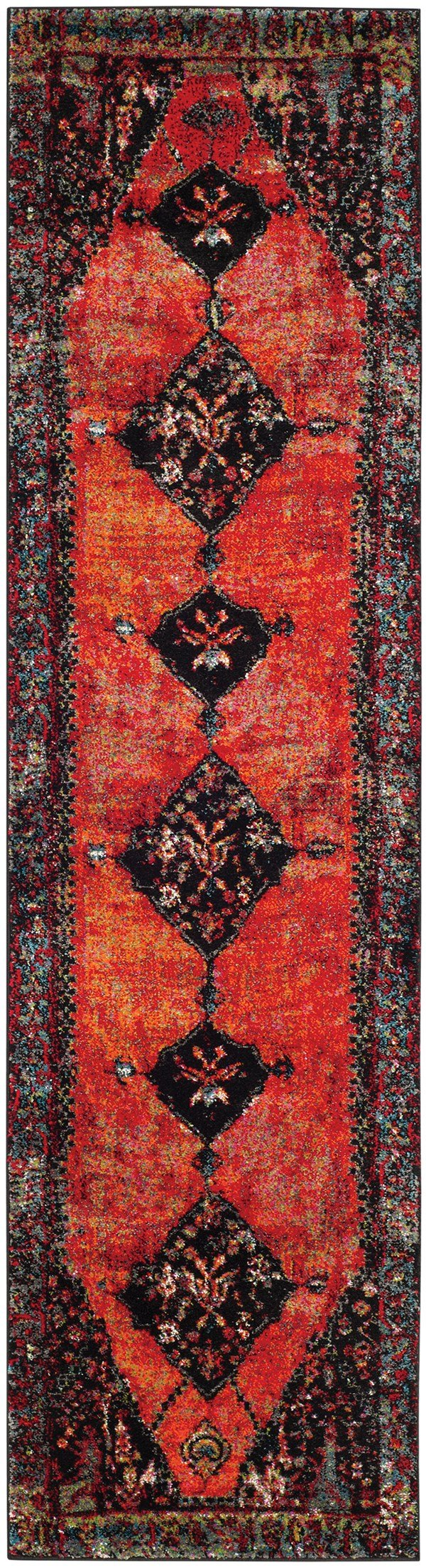 Orange, Red, Black (B) Traditional / Oriental Area Rug