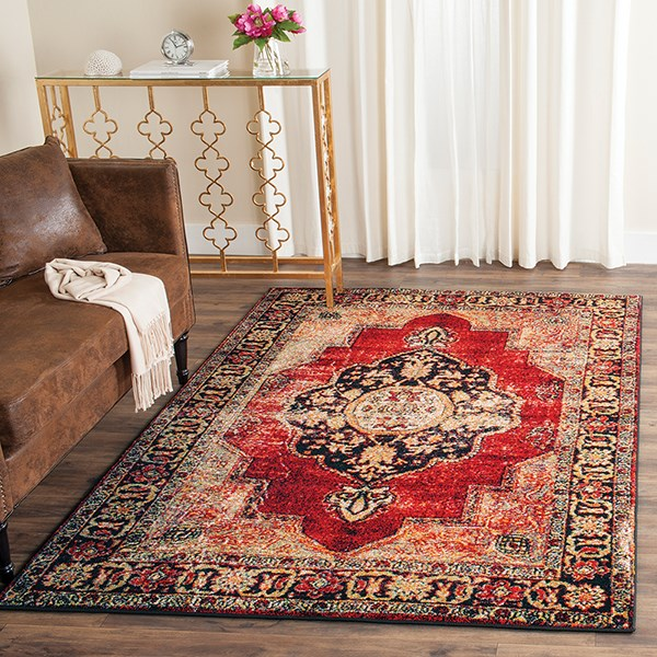 Red, Gold, Black (A) Traditional / Oriental Area Rug