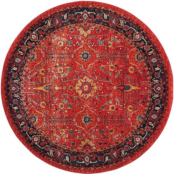 Orange, Navy (C) Traditional / Oriental Area Rug