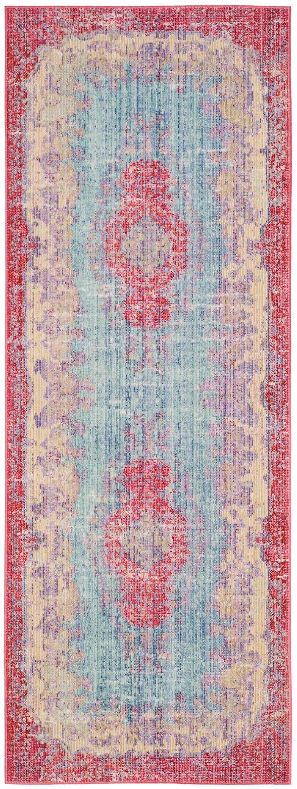 Light Blue, Fuchsia (A) Vintage / Overdyed Area Rug
