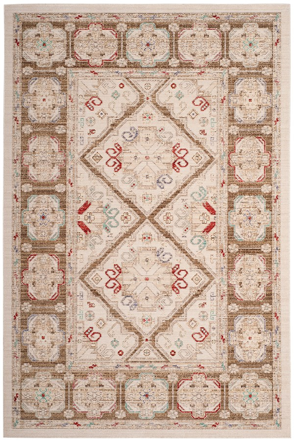 Ivory, Brown (M) Vintage / Overdyed Area Rug