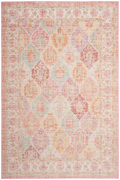 Pink, Yellow, Red (S) Vintage / Overdyed Area Rug