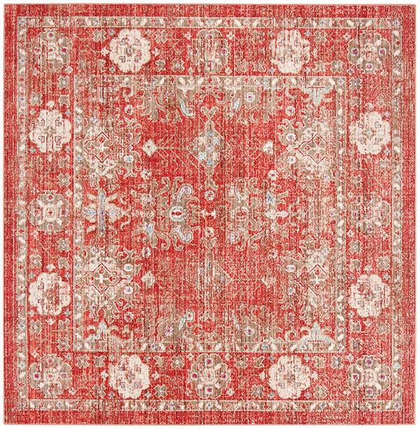 Red, Ivory (N) Vintage / Overdyed Area Rug