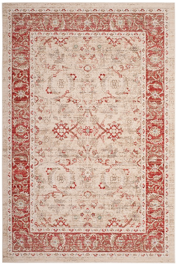 Ivory, Red (N) Vintage / Overdyed Area Rug