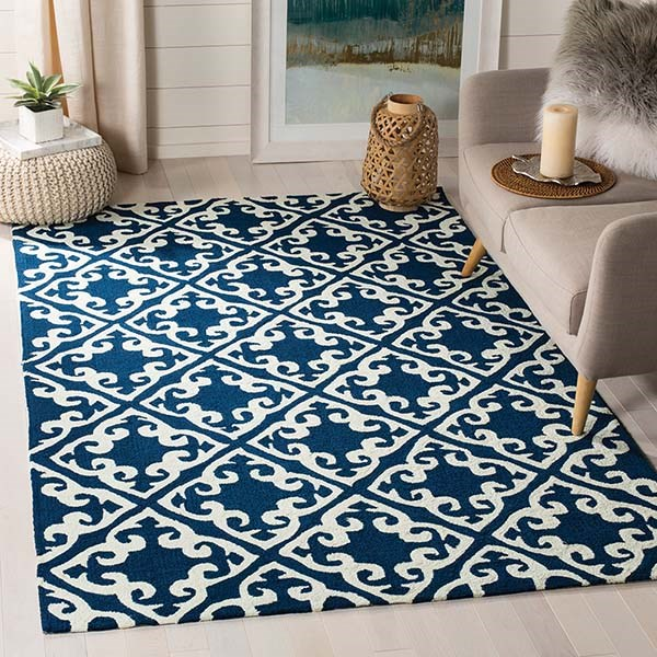 Navy, Ivory (A) Traditional / Oriental Area Rug