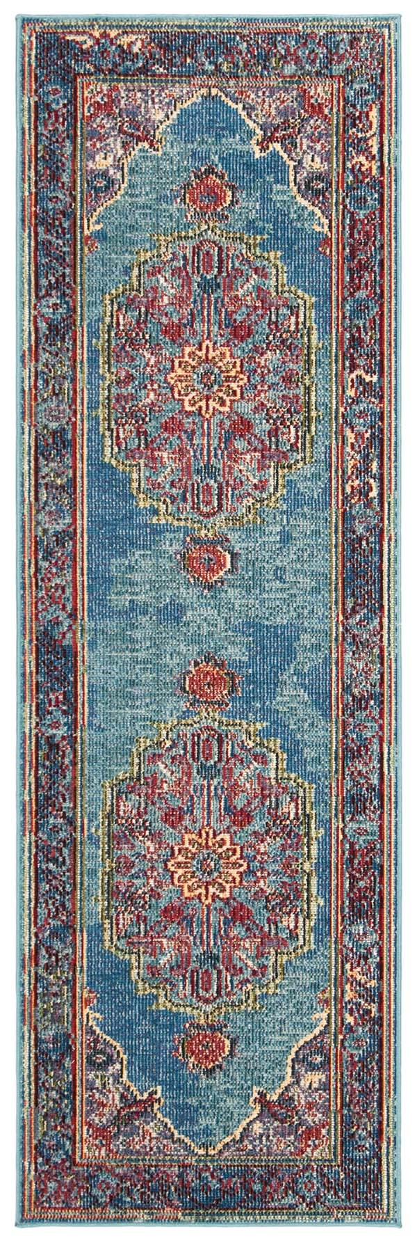 Blue, Purple (A) Traditional / Oriental Area Rug