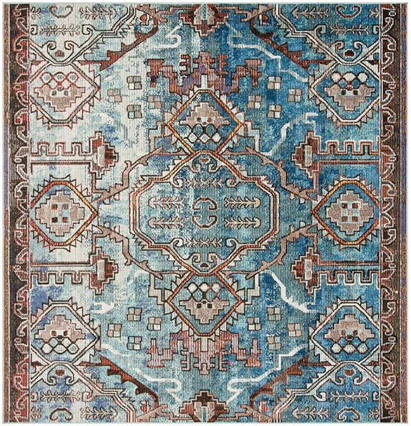 Blue, Light Blue (F) Traditional / Oriental Area Rug