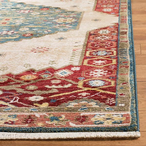 Blue, Red (A) Traditional / Oriental Area Rug
