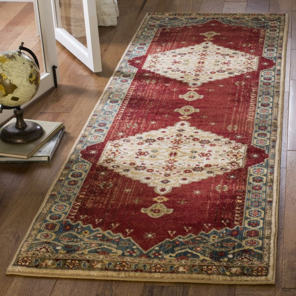 Ivory, Blue (B) Traditional / Oriental Area Rug