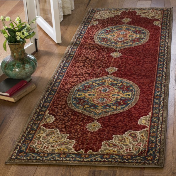 Red, Blue (F) Traditional / Oriental Area Rug