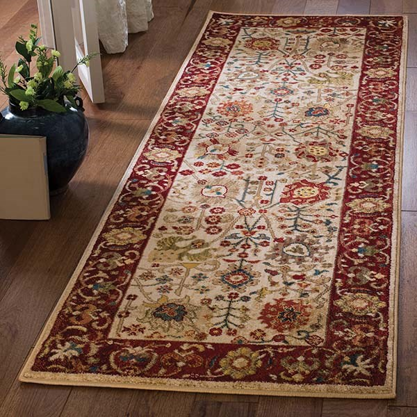 Ivory, Red (D) Traditional / Oriental Area Rug