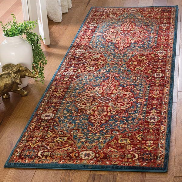 Blue, Red (A) Contemporary / Modern Area Rug