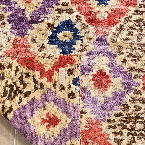 Purple, Rust (A) Ikat Area Rug