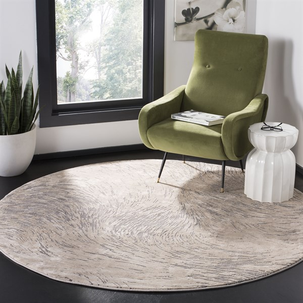 Ivory, Grey (A) Abstract Area Rug