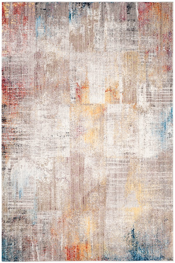 Grey, Gold (A) Abstract Area Rug