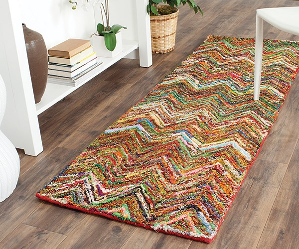 Red, Blue (B) Contemporary / Modern Area Rug