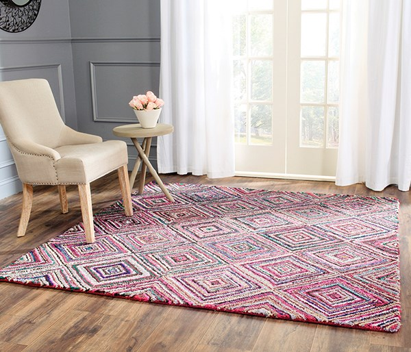 Red (A) Geometric Area Rug