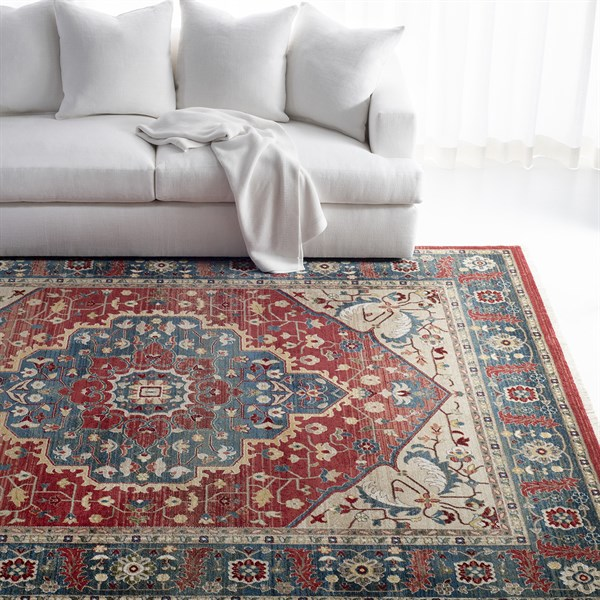 Red, Blue, Beige (1221A) Traditional / Oriental Area Rug